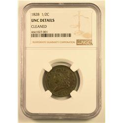1828 H1C UNC DETAILSCLEANED PCGS