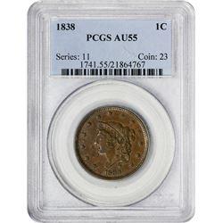 1838 1C AU55 PCGS