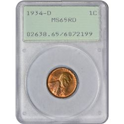 1934-D 1C MS65RD PCGS OGH