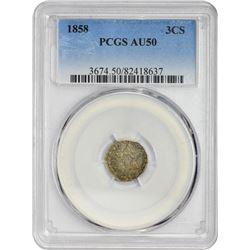 1858 3C AU50 PCGS
