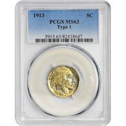 1913 5C MS63 TYPE 1 PCGS