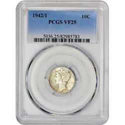 1942/1 10C VF25 PCGS