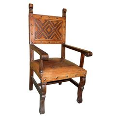 Hand-Tooled Leather Armchair
