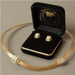 Elephant Hair CZ Bracelet & Stud Earring Set