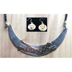 Cheetah Moon Neckpiece and Matching Earrings