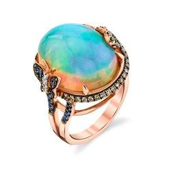 Natural Ethiopian Opal, Diamond & Sapphire Ring