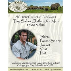 $500.00 Certificate for Men's Safari Clothing