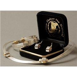 Elephant Hair CZ Necklace, Bracelet & Earring Set