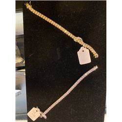 White and Yellow Gold Swarovski Crystal Bracelet Pair