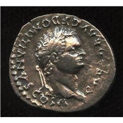 Ancient - Roman Imperial - Domitian, as Caesar. 69 - 81 AD. AR Denarius, struck under Vespasian