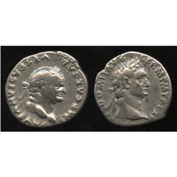 Ancient - Roman Imperial - Flavian Emperors. 69-81 AD. AR Denarius. Lot of 2