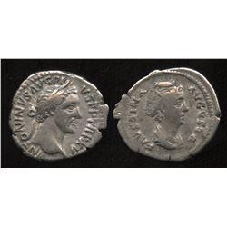 Ancient - Roman Imperial - Antoninus Pius (138-161 AD) & wife Faustina. AR Denarius. Lot of 2
