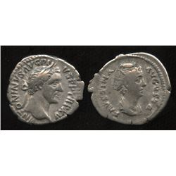 Ancient - Roman Imperial - Antoninus Pius (138-161 AD) & wife Faustina. AR Denarius. Lot of 2
