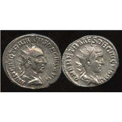 Ancient - Roman Imperial - Trajan Decius & Son. 249-251 AD. AR Antoninianus. Lot of 2