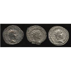 Ancient - Roman Imperial - Father & Son, 3rd Century Emperors. AR Antoninianus. Lot of 3
