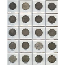 British India One Rupees - Lot of 20 Coins
