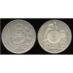 GUATEMALA 1/2 Real 1871 & 1894 C/S on an 1884 Peru Silver Sols