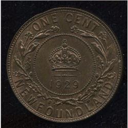 1929 Newfoundland One Cent - Minor Clip