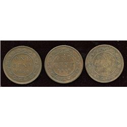 Set of three 1859 large cent varieties