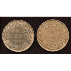 Pair of mint state Edward VII large cents, 1902 and 1905