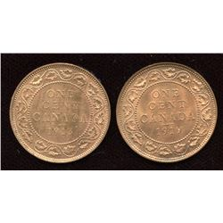 Pair of choice brilliant uncirculated George VI large cents, 1913 and 1919