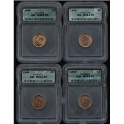 1939, 1942, 1948 & 1949 - Lot of 4 ICG Graded Coins
