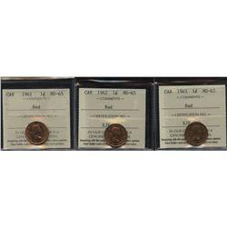 Lot of three Elizabeth II One Cents