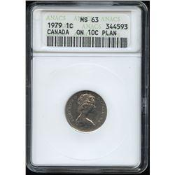 ERROR COIN - 1979 One Cent struck on nickel 10c planchet.
