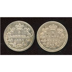 1870 Five Cents - Lot of 2
