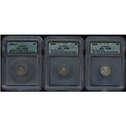 1903H, 1909, 1910 Five Cents - Lot of 3 ICG Graded Coins