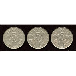 1925 Five Cents - Lot of 3 Coins