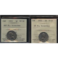 Pair of 1953 mule Five Cents