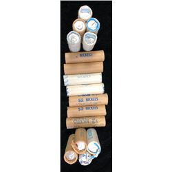 Lot of 16 Rolls of Five Cents