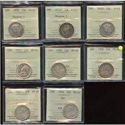 Lot of 8 ICCS Graded Twenty-Five Cents