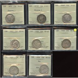 Lot of 8 ICCS Graded Twenty-Five Cents