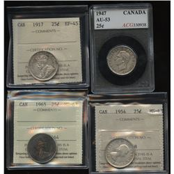 Lot of 4 Graded Twenty-Five Cents