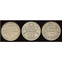 1870, 1892 & 1898 Fifty Cents