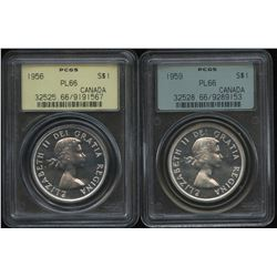 1956 & 1959 Silver Dollars - Lot of 2 PCGS Graded Coins