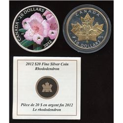 2012 Rhododendron $20 Coloured & 2015 $10 Gold Plated Fine Silver Coins