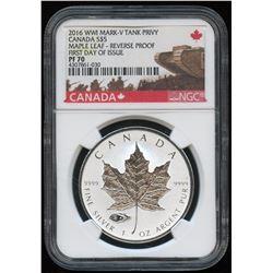 2016 WW1 Canada Silver Maple Leaf Tank Privy