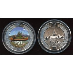 2017 Canada Canoe Coloured and Regular 150th Years Silver Maple Leaf
