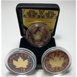 2017 Coloured and Guilded Silver Maple Leaf - Lot of 3