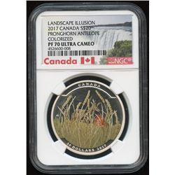2017 Pronghorn Antelope Coloured $20 Fine Silver Coin