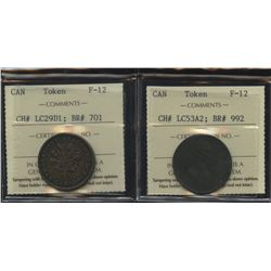 Lower Canada to Facilitate Trade & Bouquet Sou - Lot of 2 Tokens