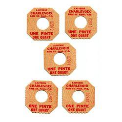 Quebec Tokens. Lot of 44 Cardstock/Paper Milk Tokens.
