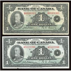 1935 Bank of Canada $1 - Lot of 2
