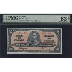 1937 Bank of Canada $2 - Transitional Prefix