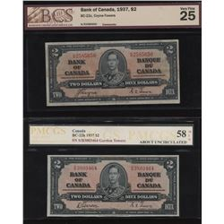 1937 Bank of Canada $2 - Lot of 2
