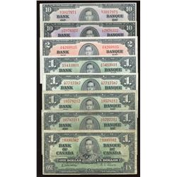 1937 Bank of Canada Collection of 8 Notes