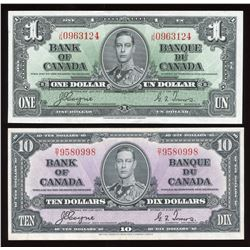 1937 Bank of Canada $1 & $10